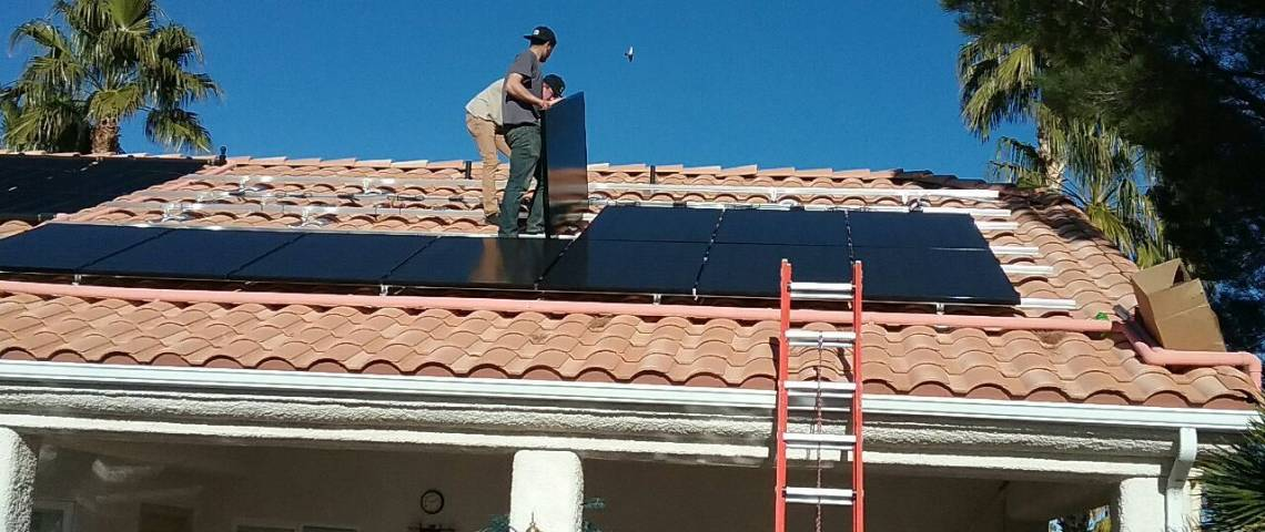 Solar Power System in Mesquite, NV - Installation Crew