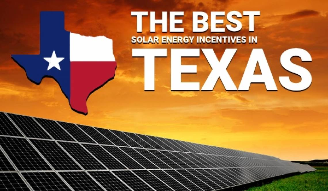 Solar Farm in Texas with Texas State flag