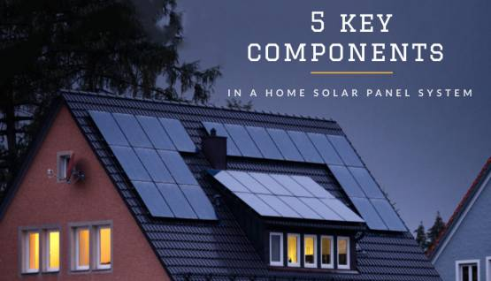 """Photo of Solar Panels on a home with the text """"5 key components in a home solar panel system""""."""