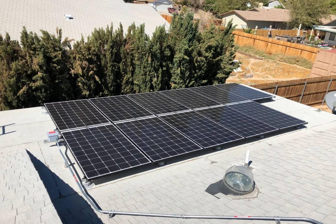 Roof Mount Solar Panel Installation In Ridgecrest Ca